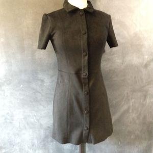 ZARA | Faux Suede Black Button Front Dress Sz Sm